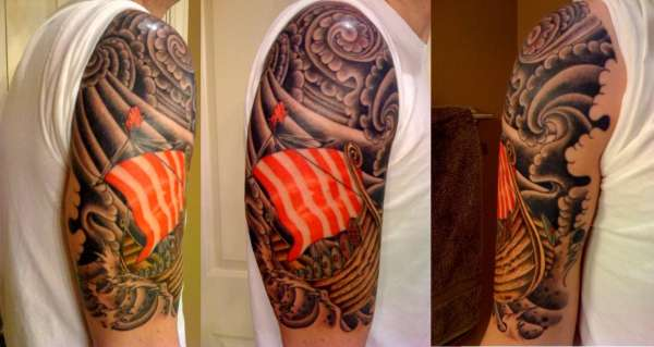 Color Viking Ship Tattoo On Half Sleeve