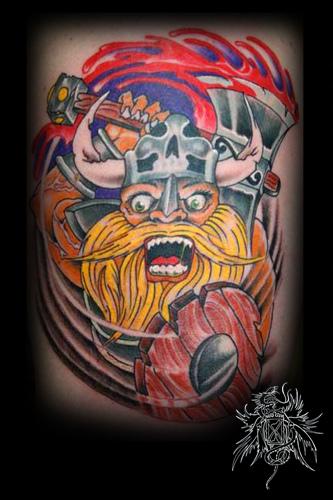 Colored Viking Tattoo Design