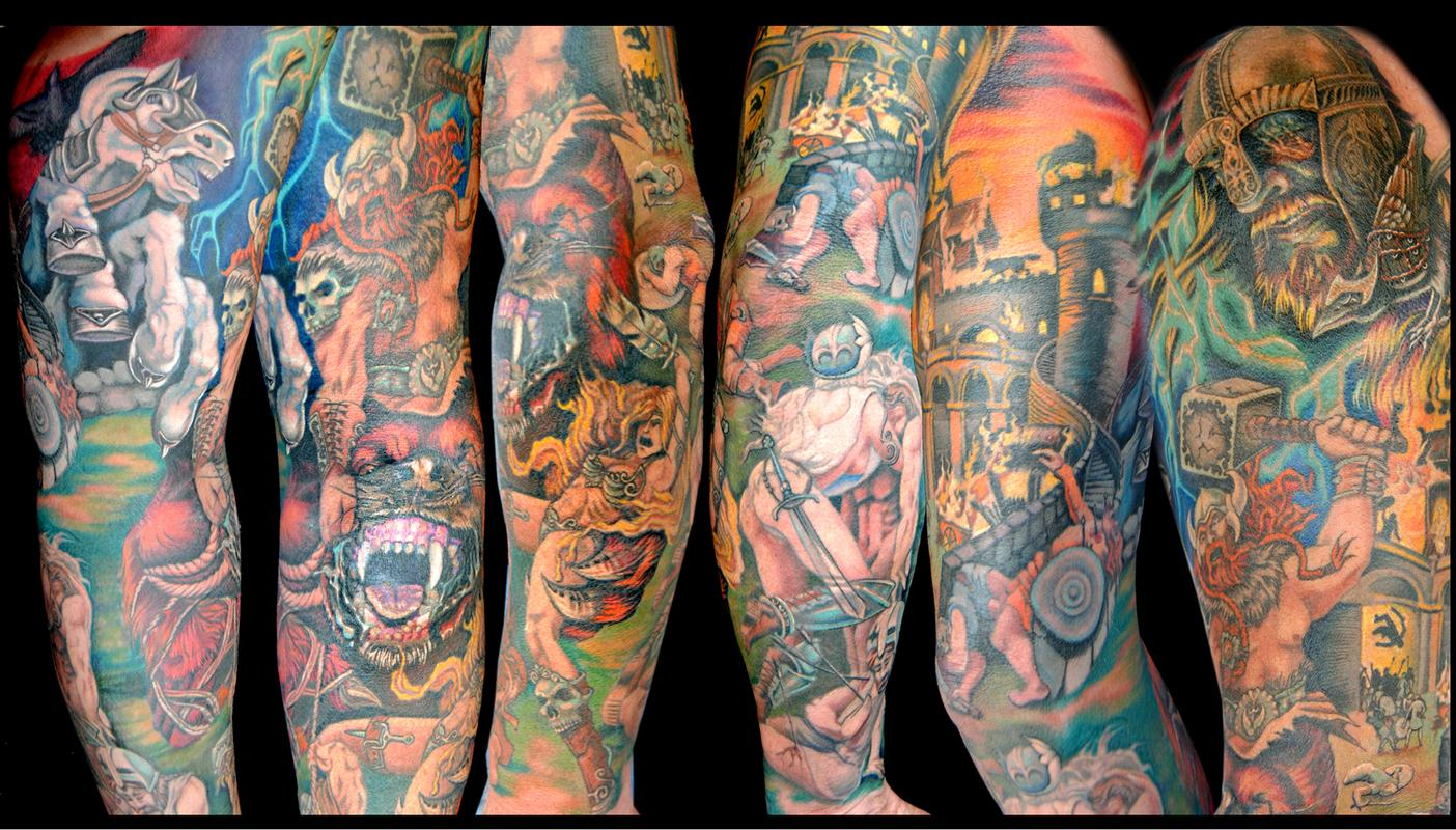 Colored viking tattoo on full sleeve for Viking tattoo sleeves