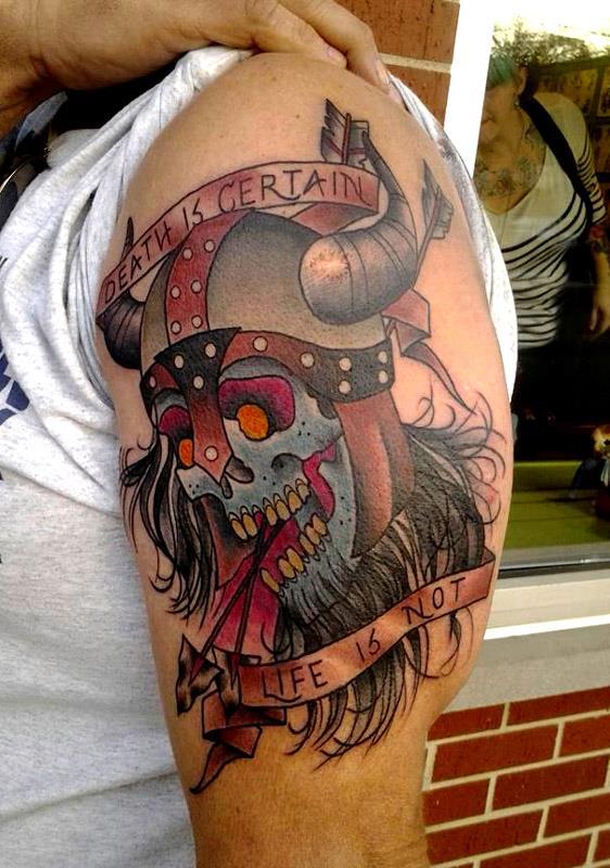 Colored Viking Tattoo On Man Left Half Sleeve