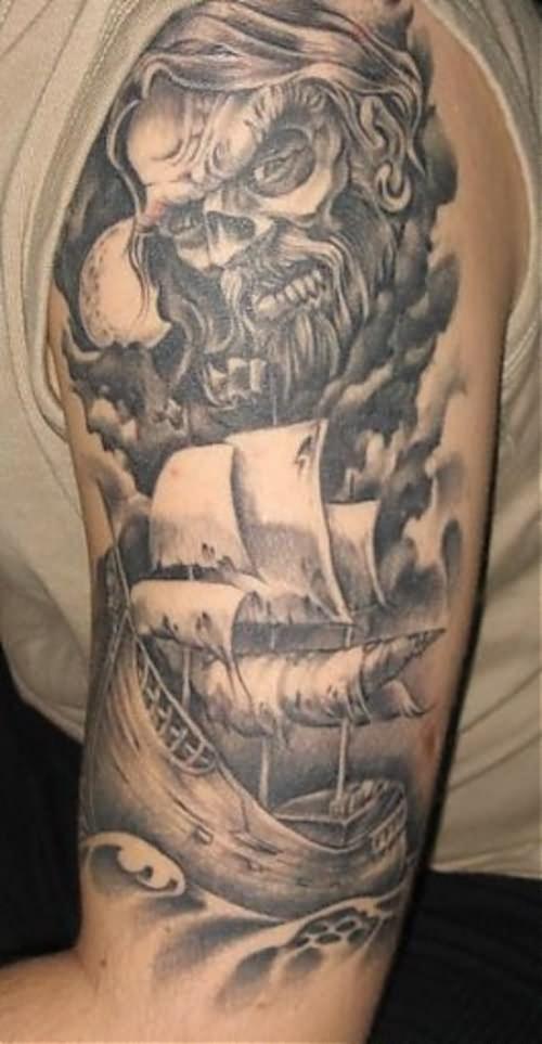 Cool Man Left Half Sleeve Viking Tattoo
