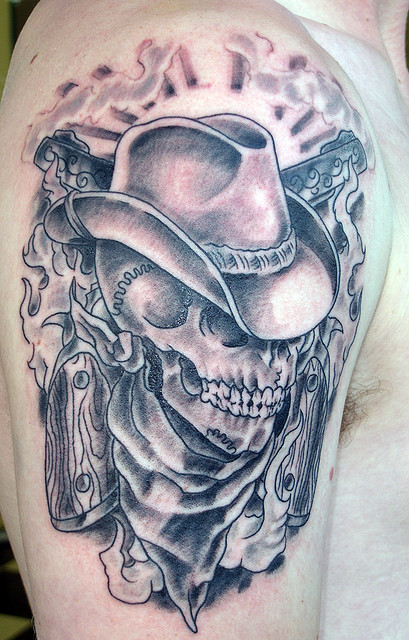 Pics Photos Half Sleeve Cowboy Skull Tattoo Design