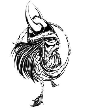 Crazy grey ink viking tattoo design
