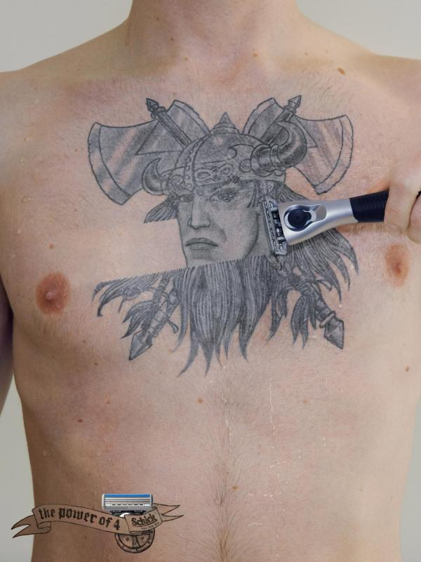 Crazy Viking Tattoo On Man Chest