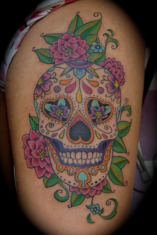 Skull tattoo images designs for Pretty skull tattoos