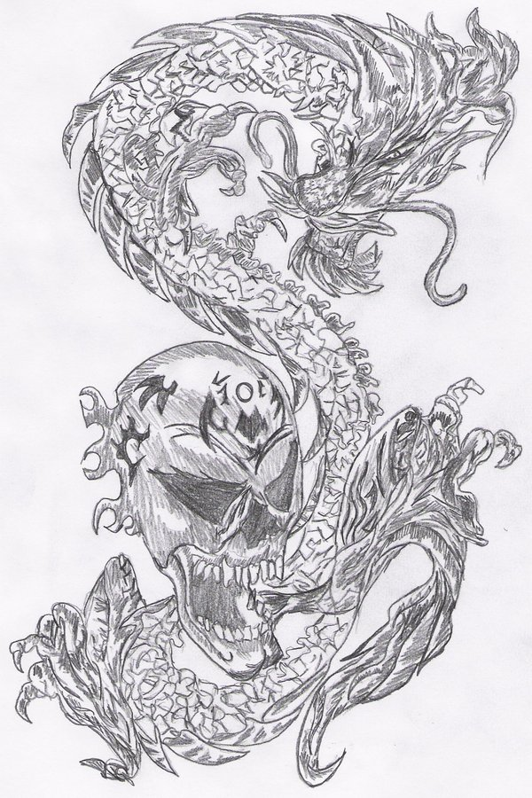 Dragon And Skull Tattoo Design