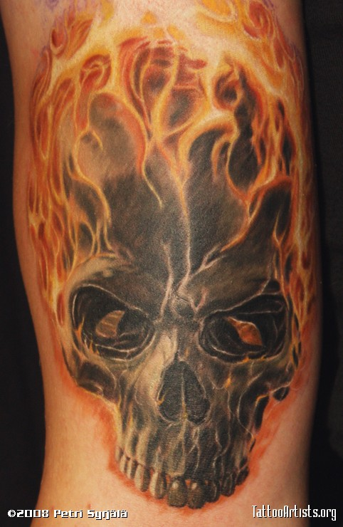 Half Sleeve Tattoo Flames Flaming Skull Tattoo on Half