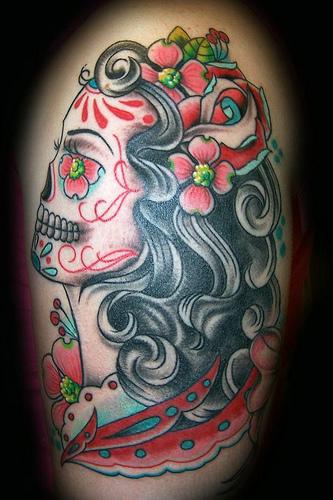 girl sugar skull tattoo design. Black Bedroom Furniture Sets. Home Design Ideas