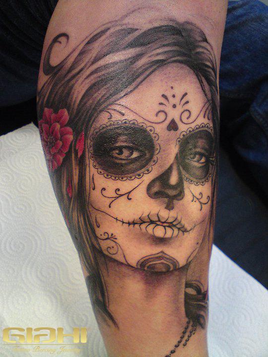 grey ink mexican skull face tattoo on leg. Black Bedroom Furniture Sets. Home Design Ideas