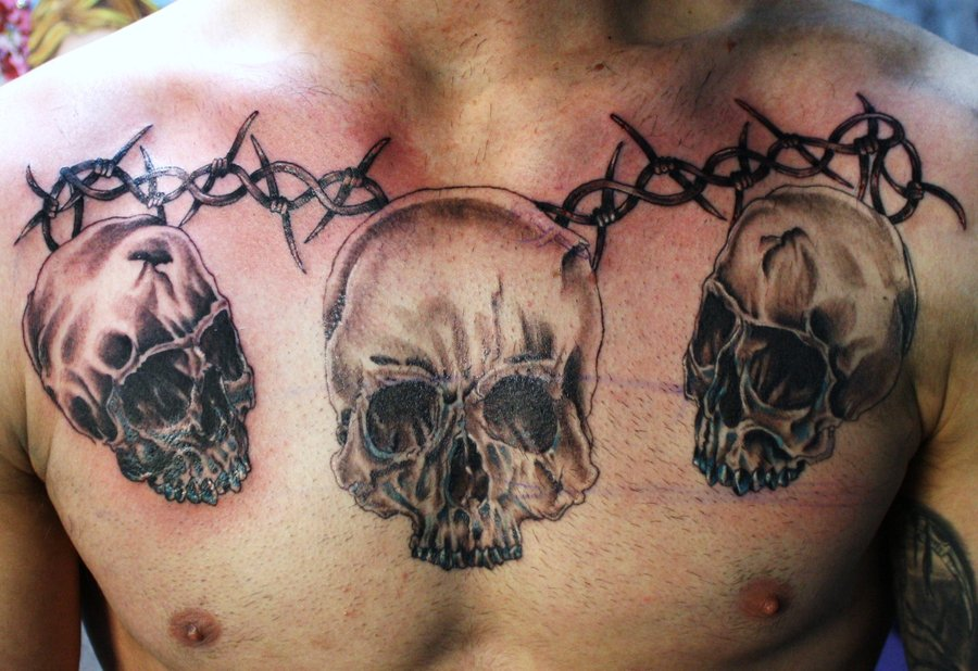 Skull Chest Piece Tattoo