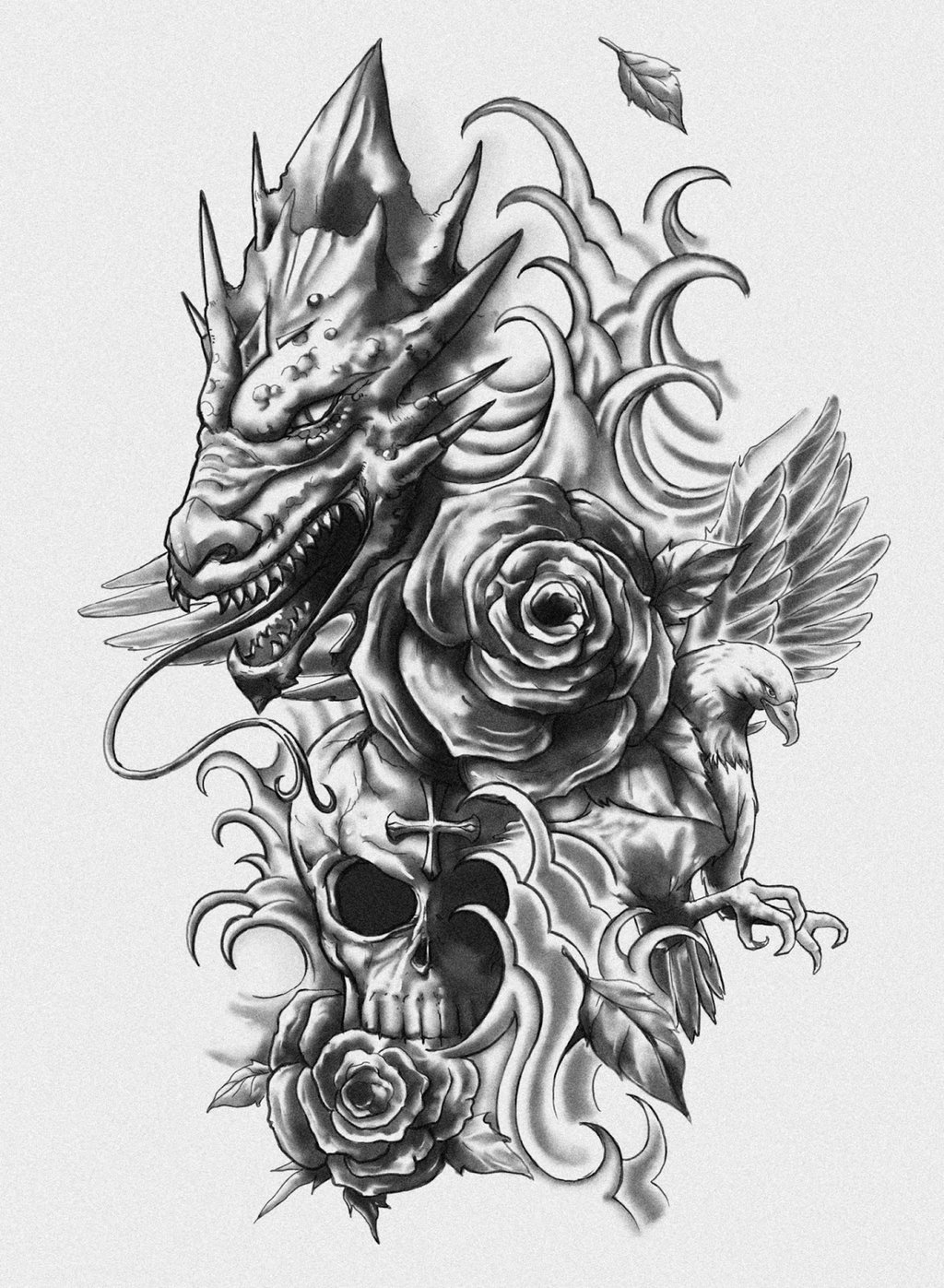 Grey Rose Flowers And Dragon Skull Tattoo Design