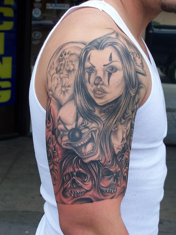 Joker skull tattoos on right half sleeve for Joker skull tattoo