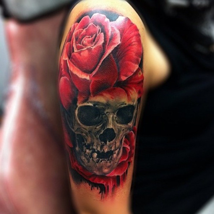 Large Rose And Skull Tattoo On Right Half Sleeve
