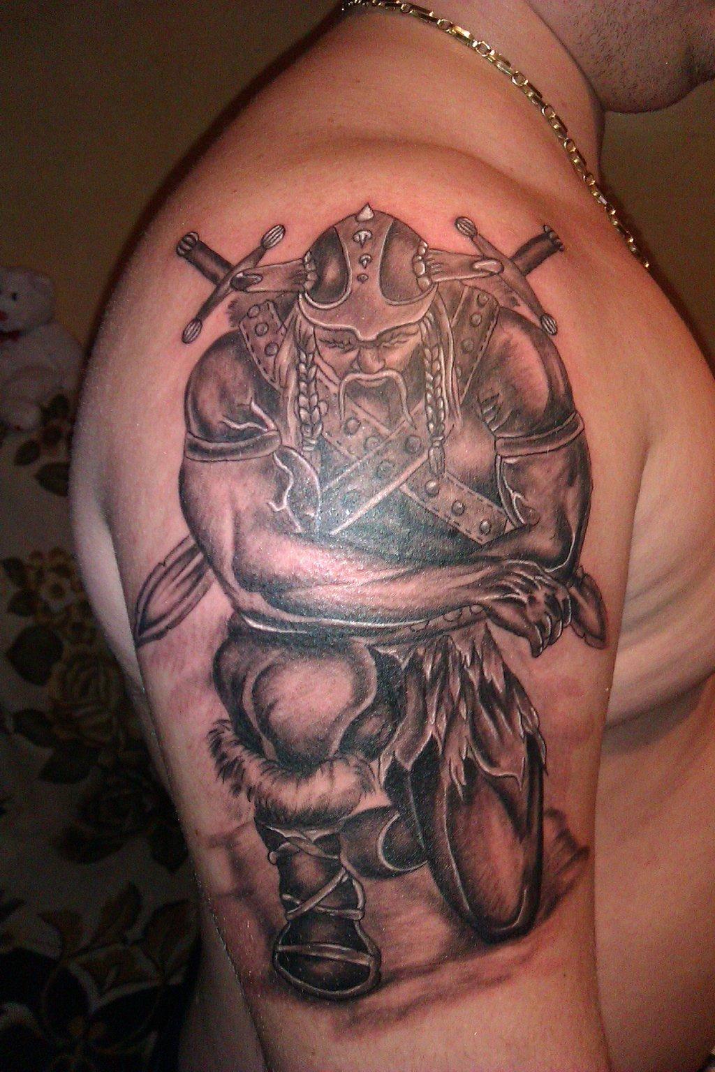 Latest Grey Ink Viking Tattoo On Man Right Half Sleeve