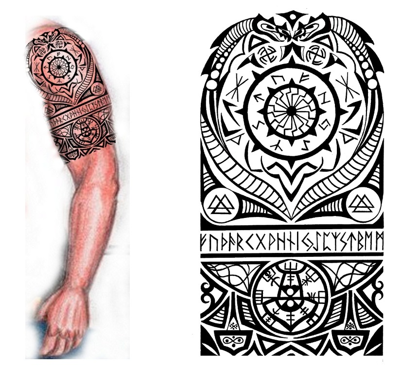 Left Half Sleeve Viking Tattoo Design