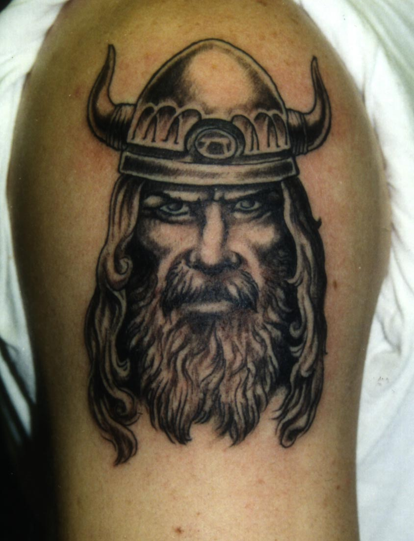 Man Right Shoulder Viking Head Tattoo