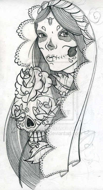 53b3a0156 Mexican Girl Skull Tattoo Design