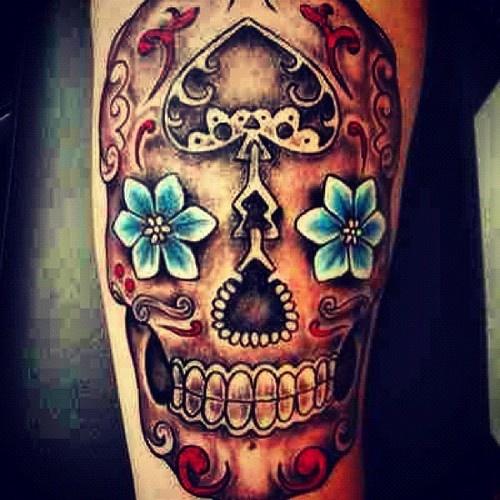 mexican sugar skull tattoo on leg. Black Bedroom Furniture Sets. Home Design Ideas
