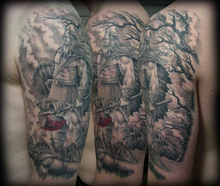 Grey Ink Ancient Viking Tattoo On Half Sleeve