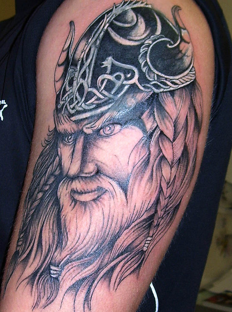 Nice Grey Ink Viking Tattoo On Man Left Half Sleeve