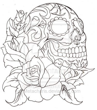 Gallery For gt Sugar Skulls Outline