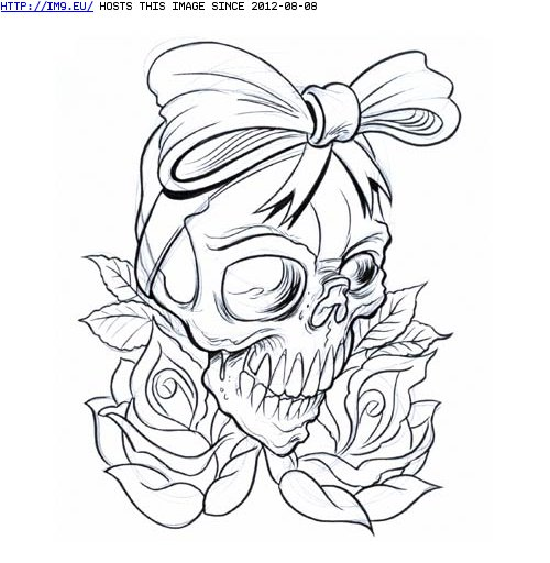 Outline Rose Flowers And Skull With Bow Tattoo Design