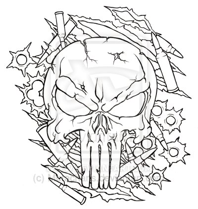 Gallery For gt Punisher Skull Outline Tattoo