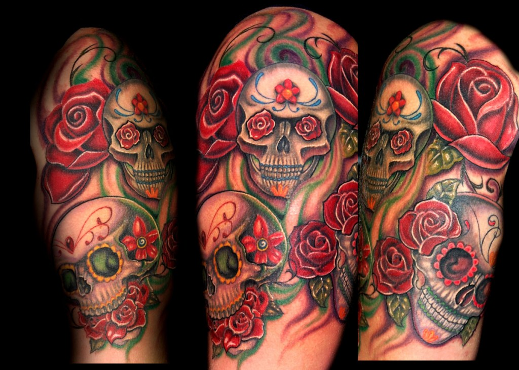 Red Rose Flowers And Skull Half Sleeve Tattoo