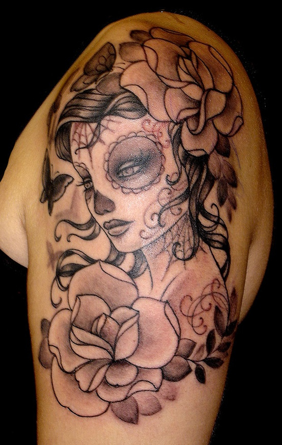 Girly side tattoo designs lady skull tattoos meaning for Feminine tattoos with meaning