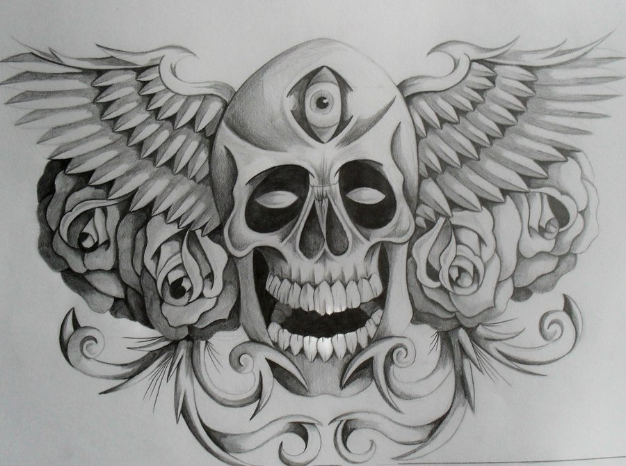 Rose Flowers And Winged Skull  Skulls And Wings Drawings
