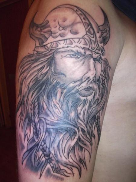 Unique Grey Ink Viking Tattoo On Man Right Half Sleeve
