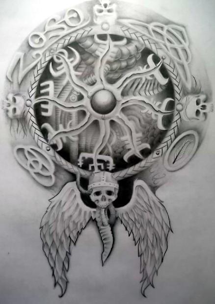 Viking compass tattoo design
