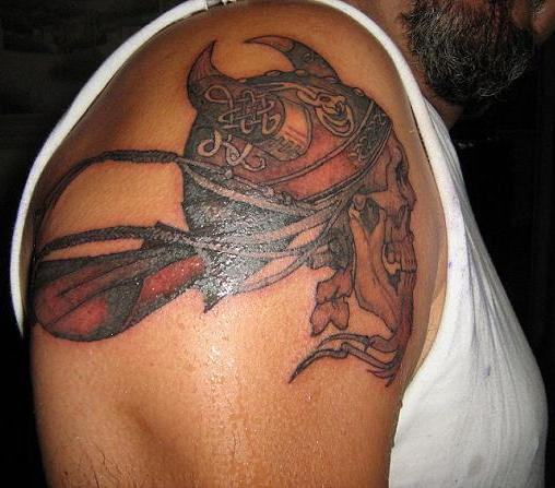Viking Skull Tattoo On Right Shoulder