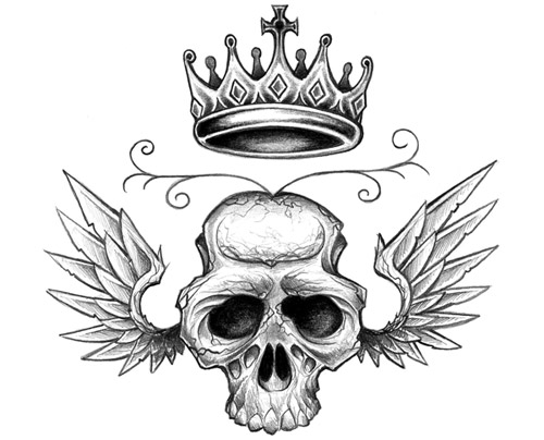 Winged Crown Skull Tattoo Design