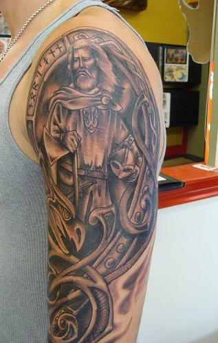 Wonderful Grey ink Viking Tattoo On Man Left Half Sleeve