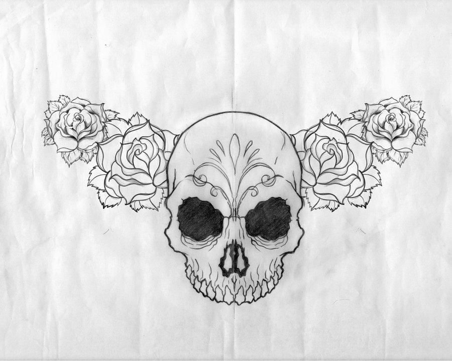 Black Rose Flowers And Skull Tattoo Design