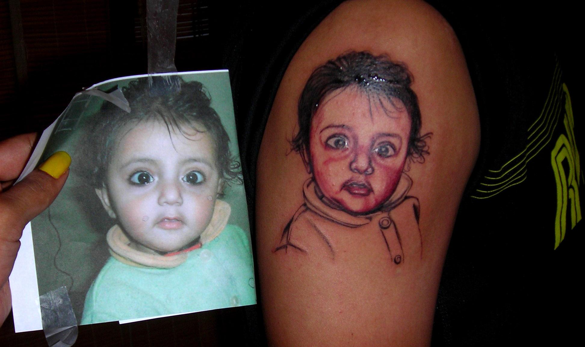 Baby portrait tattoo ideas - Baby Portrait Tattoo On Shoulder