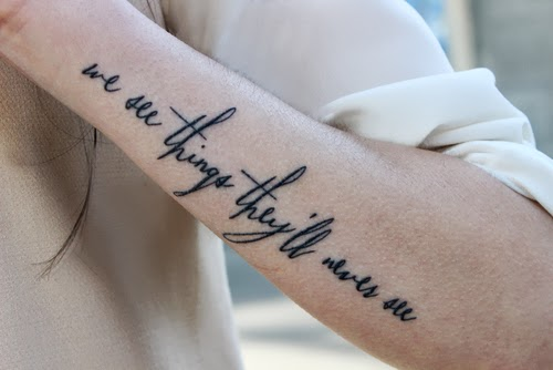 Beautiful Quote Tattoo On Left Arm