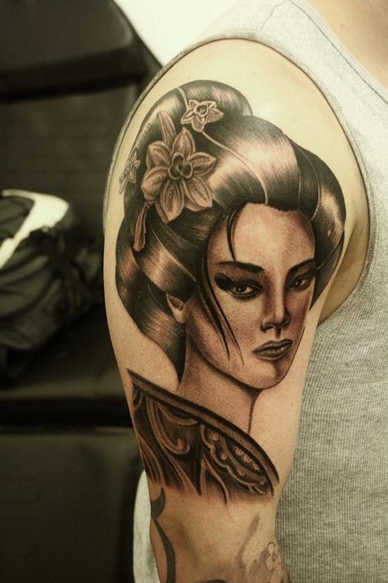 best right half sleeve portrait tattoo. Black Bedroom Furniture Sets. Home Design Ideas