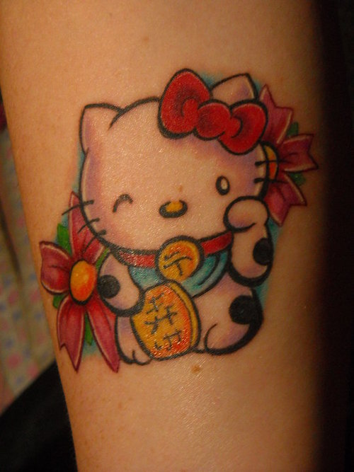 b97b820bf Color Flower and Kitty Tattoo On Leg