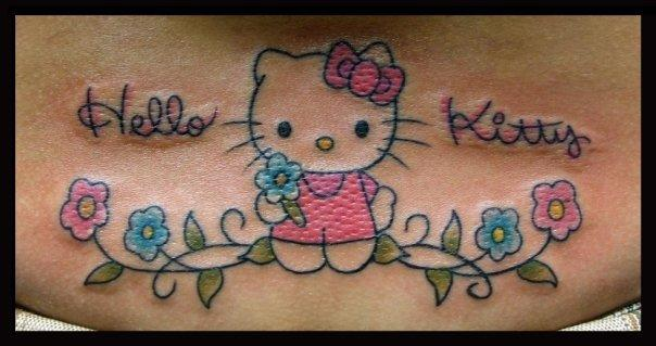 b5e6c5923 Color Flowers And Kitty Head Tattoo On Half Sleeve