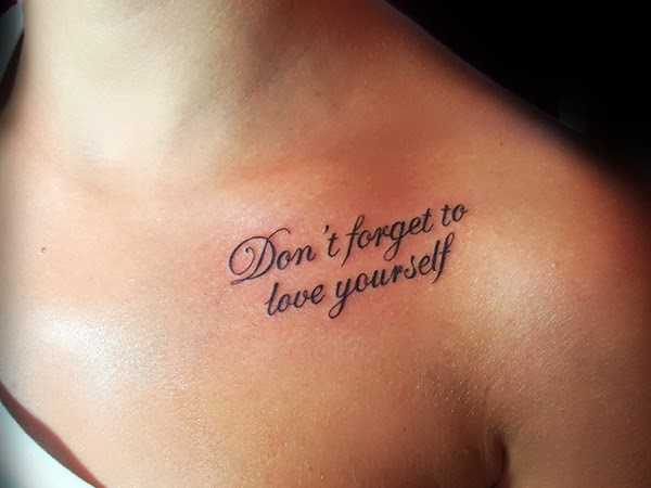 Quote Tattoo On Girl Collarbone