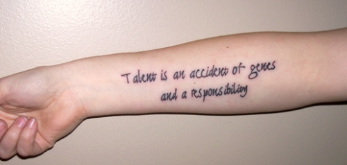 Cute Quote Tattoo On Right Forearm
