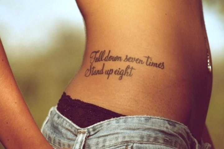 Girl Side Rib Quote Tattoo For Girls