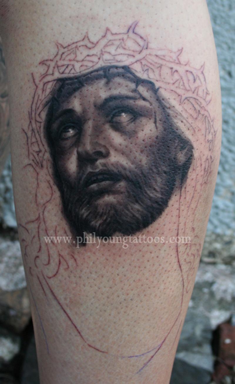 Grey ink portrait tattoo on leg for Grey tattoo ink