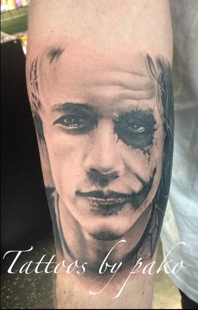 Heath Joker Face Tattoo