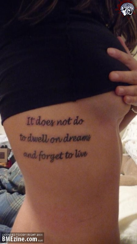 Nice Quotes To Get Tattooed: Nice Quote Tattoo On Rib Side