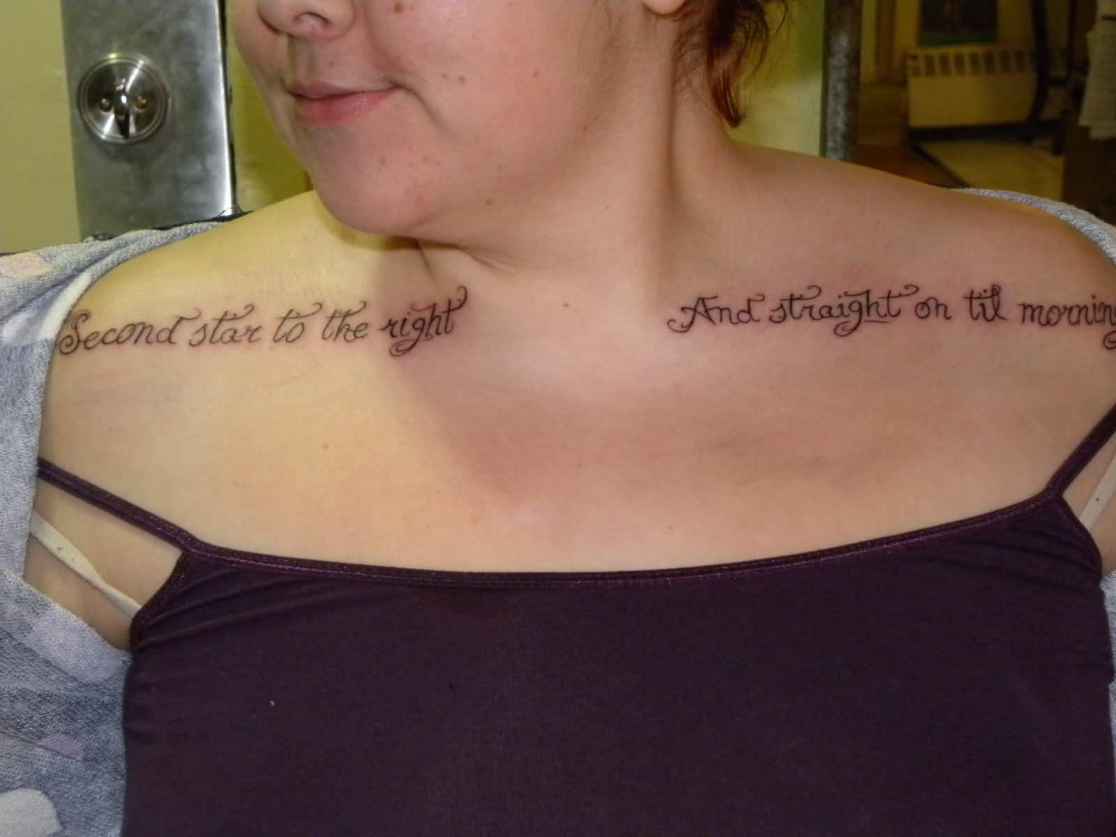 Quote Tattoos On Upper Shoulders