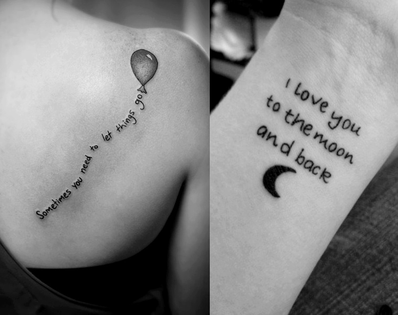 Quote Tattoos On Wrist And Back Shoulder
