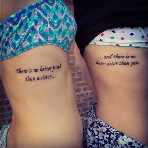 Sisters Quote Tattoos On Side Ribs